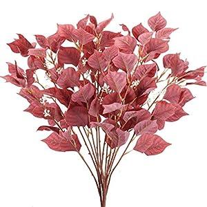AILANDA 4PCS Artificial Eucalyptus Stems Red 31.5″ Silk Long Silver Dollar Leaves Foliage Fake Fall Shrubs Bushes Farmhouse Flower Arrangements for Home Party Table Centerpieces