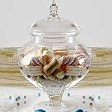 AD TREND Ampolla alzatina per confettata Porta Confetti in Vetro Trasparente e Coperchio in Vetro Altezza 26cm Circa