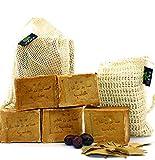 GEMS Original Aleppo Seife Set, 5 x ca. 130g, gemischtes Set, mit Sisal Soap Bag + Reisetasche,...