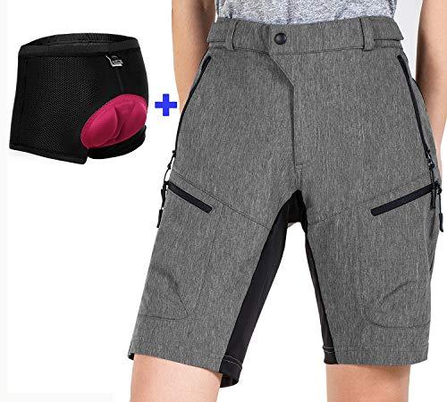 Cycorld MTB Shorts Damen MTB Hose, Atmungsaktiv Radhose Damen Outdoor Bike Shorts mit Verstellbaren Klettverschlüssen (Dark Grey with Pad, 2XL)
