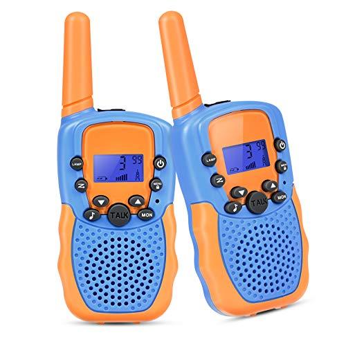 Walkie Talkie para Niños 2 x Radio, Juguete de Radio de Largo Alcance de 3km con 8 Canales, Linterna LED, Juegos para Niños de 3 a 10 Años
