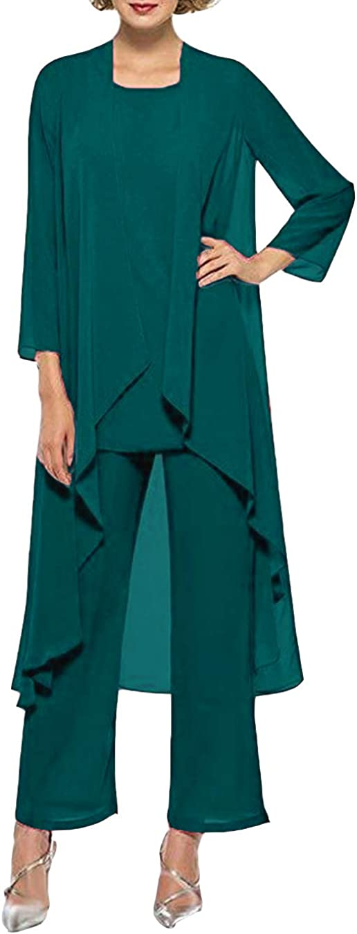 Ai Maria Women's Three Pieces Mother of The Bride Dresses Long Sleeve Dressy Pantsuits