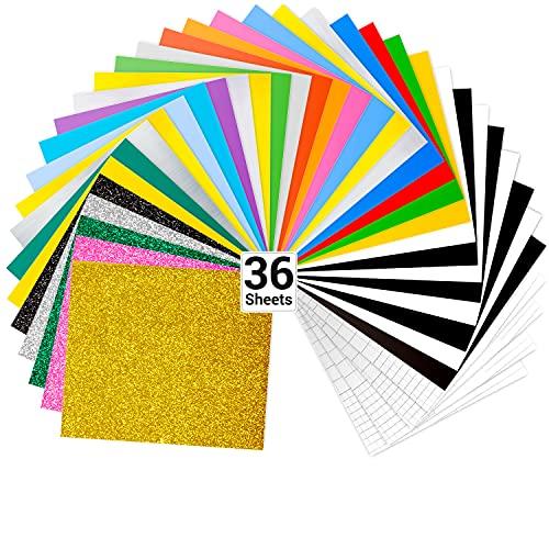 Vinilo de transferencia de calor, paquete de 36 hojas de Ohuhu para planchar sobre vinilo, incluye 20 colores surtidos + 5 vinilos HTV de colores brillantes para telas, camisetas, sombreros