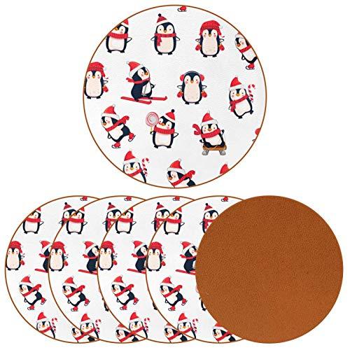 Posavasos redondos de 6 piezas – Posavasos decorativos para tipos de tazas y tazas, diseño de pingüino