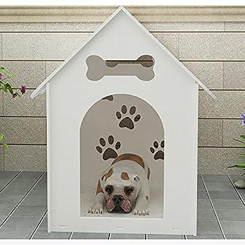 Systond Dog House Protection de l'environnement Plaque Hollow Out Parc pour animaux de compagnie Chenil en plastique Dog House Cage Animal Shelter pour Petit Moyen Grand Chiens Animaux Blanc