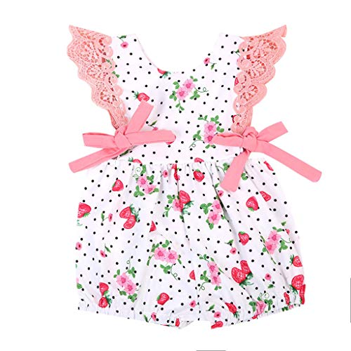 LNGRY Baby Romper,Toddler Newborn Kids Girls Polka Dot Strawberry Floral Printed Lace Ruffle Romper Playsuit (6-12 Months, White)