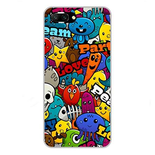Todo Phone Store Funda Personalizada Diseño Impresion UV LED Silicona Dibujo TPU Gel [Divertidas 014] para Huawei Honor 10