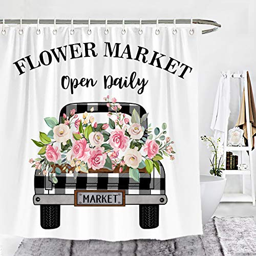 Wencal Buffalo Check Plaid Spring Floral Truck Shower Curtain Flower Market Roses Leaves Open Daily Farmhouse Bathroom Decor 72 x 72 Inches