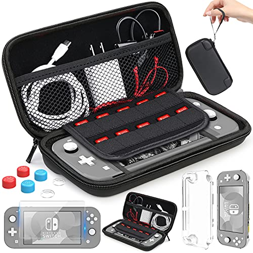 HEYSTOP Compatible with Nintendo Switch Lite Carrying Case Mini Switch Lite Cover Case Tempered Glass Screen Protector Games Card 6 Thumb Grip Caps for Nintendo Switch Lite Accessories Kit