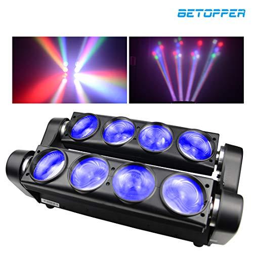 Preisvergleich Produktbild BETOPPER Spider Spot Moving Head Licht LED DJ Beleuchtung RGBW 8x8W DMX512 Bühnenlicht Mini Spider Lights für DJ Disco Party Lights Restaurant Live Konzert Beleuchtung