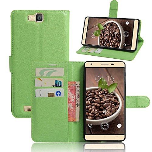 Tasche für Cubot H2 Hülle, Ycloud PU Ledertasche Flip Cover Wallet Case Handyhülle mit Stand Function Credit Card Slots Bookstyle Purse Design grün