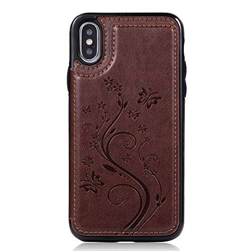 iPhone X/iPhone XS Hülle, SONWO Premium PU Leder Handyhülle Ultra Dünne Ledertasche Magnetverschluss Flip Schutzhülle für Apple iPhone X/iPhone XS, Dunkelbraun