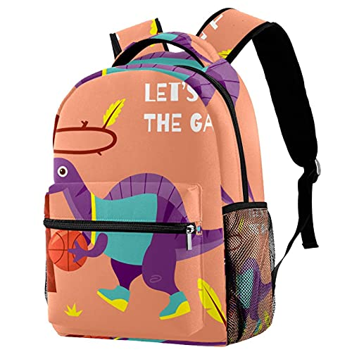 Lleve la mochila con estilo vamos a jugar el juego dinosaurio