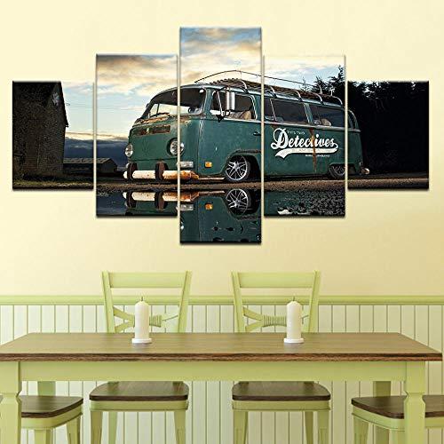 Murturall 5 stuks afdrukken op canvas, retro Volkswagen bus auto canvas schilderij moderne muurkunst foto's wooncultuur poster 100x55cm