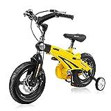Bicicletas plegables, absorción de impactos de resorte, 12'/14'/16' bicicleta plegable para estudiante, color amarillo, tamaño 12in