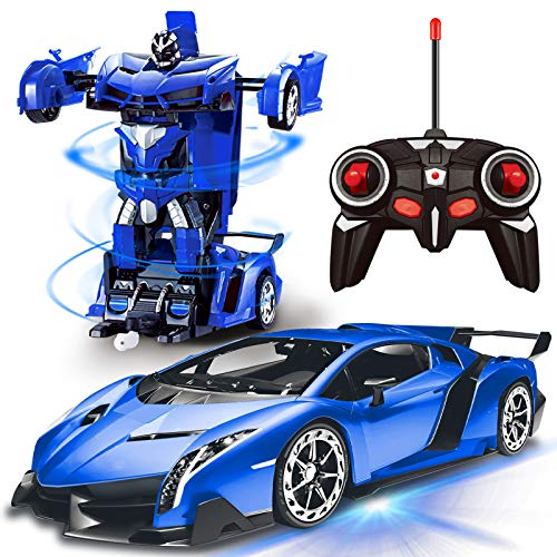 AMENON Remote Control Transform Car Robot Toy with Lights Deformation RC Car 2.4Ghz 1:18 Rechargeable 360°Rotating Stunt Race Car Toys for Kids Boys Girls Age 8 9 10 11 Year Old Xmas Holiday Toy Gifts