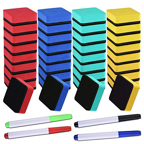 SIQUK 36 Packs Colorful Whiteboard Eraser Dry Erase Erasers (1.97 x 1.97 Inches) with 4 Pieces Dry Erase Whiteboard Markers for Classroom Offices