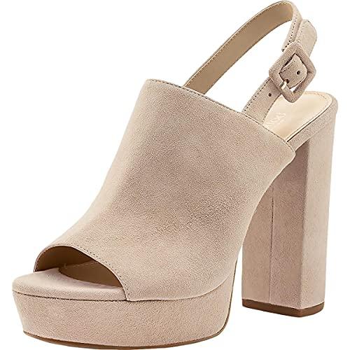 botkier Womens Jolene Suede Ankle Strap Platform Sandals Taupe 9 Medium (B,M)