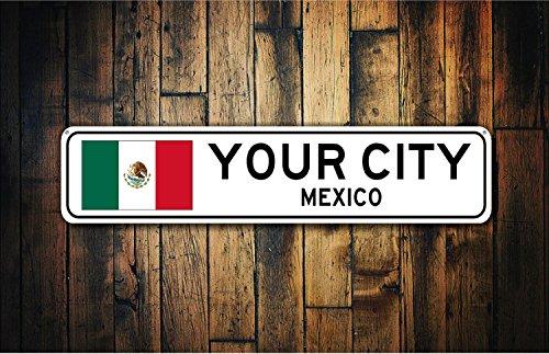 Fhdang Decor Cadeau Souvenir de Panneau de Drapeau du Mexique, Mexico, Mexico, Souvenir de Country, métal, Ville des Signes, Ville des Signes, Cinco de Mayo de Signer, Plaque en métal 10,2 x 45,7 cm