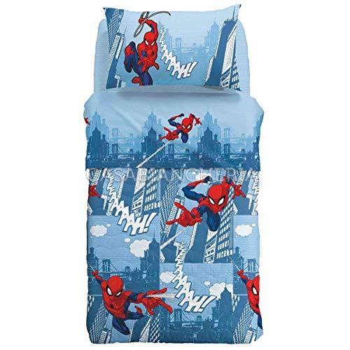 Colcha acolchada Marvel Caleffi Spiderman Ciudad-1 plaza y media