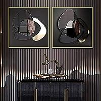 3D幾何学的な金属の壁の芸術キャンバスプリント絵画現代の金の金属の芸術ポスター壁の写真リビングルームの装飾壁画50x50cmx2フレームレス