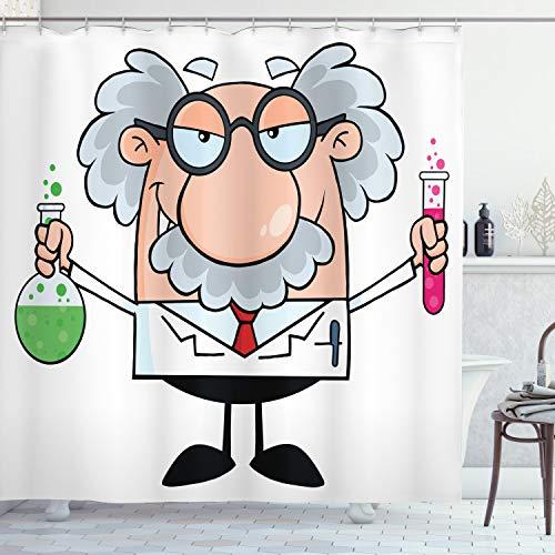 ABAKUHAUS Duschvorhang, Einstein Cartoon Lustige Wissenschaftler Chemie Nobel Physik Professor Nerd Geek Druck Bunt, Wasser und Blickdicht aus Stoff mit 12 Ringen Schimmel Resistent, 175 X 200 cm
