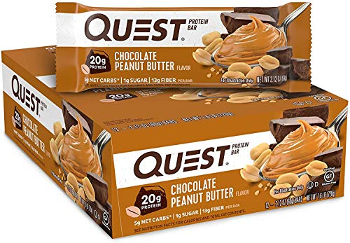 Quest Chocolate Peanut Butter Protein Bar, High Protein, Low Carb, Gluten Free, Soy Free, Keto Friendly, 12 Count, 60g