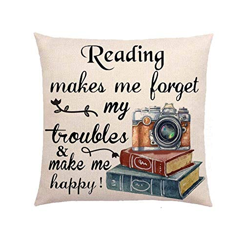 SLS Reading Makes me Forget My Troubles and Make me Happy Cotton Linen Decorative Throw Pillow Case Cushion Cover Linen Pillow case 18X18 (25)
