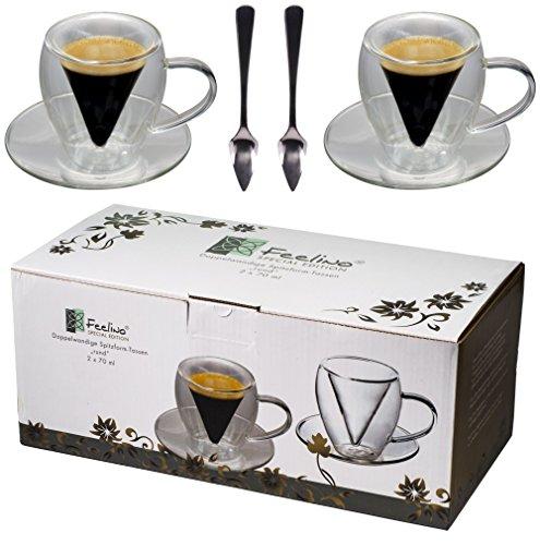 Spikey 2X 70ml doppelwandige Spitzglas-Tassen rund + 2 SPITZLÖFFEL 18/10 - Tassen mit Henkel und Untersetzer, für Ihren besonderen Espresso, by Feelino