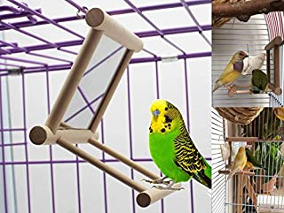 Old Tjikko Bird Swing, Parrot Cage Toys,Swing Hanging Play with Mirror for Greys Parakeet Cockatoo Cockatiel Conure Lovebirds Canaries Little Macaw African Parrot