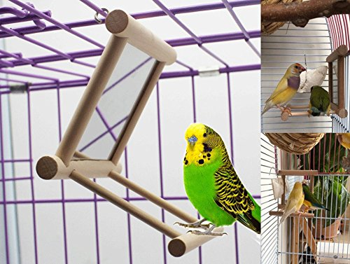 Old Tjikko Bird Swing, Parrot Cage Toys,Swing Hanging Play with Mirror for Macaw African Greys Parakeet Cockatoo Cockatiel Conure Lovebirds Canaries 1 PC (3.7x3.5 x3.5inch)
