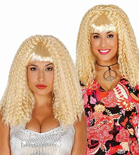 Guirca Blonde Crinkel Lange Locken Perücke Karneval Fasching Party Zubehör für Damen blond