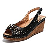 Alexis Leroy Women's Flower Peep Toe Hollow Out Slingback Platform Wedge Sandals Black 8 US