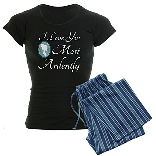 CafePress Austen Quote Love You Ardently Women's Dark Pajama Womens Novelty Cotton Pajama Set, Comfortable PJ Sleepwear