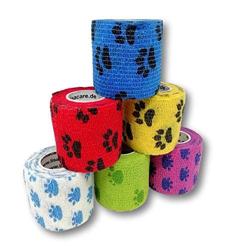LisaCare Lot de 6 pansements pour plaies avec 3 pattes de chien 5 cm x 4,5 m