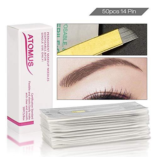 50 Stück Microblading Permanent Nadeln 3D Make-up Augenbraue Tattoo Needle Pen PCD 14 Pins Augenbrauen Kit