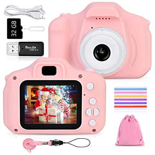 Faburo Cámara de Fotos para Niños Juguete, Niños Cámara Digital con Tarjeta de Memoria Micro SD 32GB Cámara Digital Video Cámara Regalos de Cumpleaños 3 a 12 años Niños y niñas