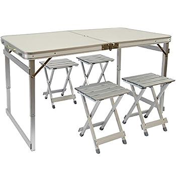 AMANKA Table de Camping Pliable réglable en Hauteur 120x70x70cm INCL 4 Tabourets Extra Robuste Pliant Format Mallette Aluminium