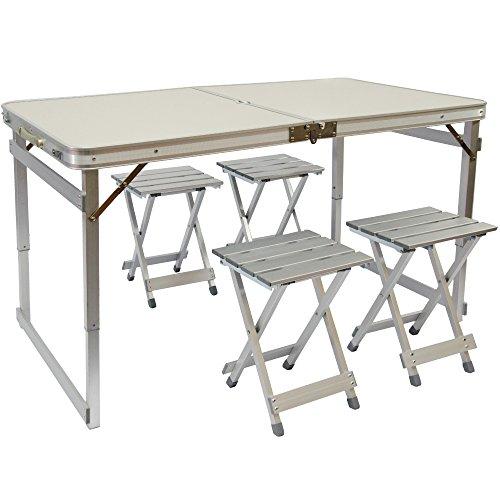 AMANKA Mesa para Acampada 120x70x70cm Incl 4 Taburetes Extra sólido Plegable portátil como si Fuera un maletín Altura Regulable para pícnic Camping Aluminio