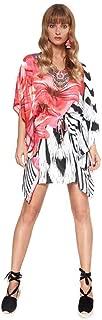 Vestido Corto Verano Mujer Kaftan Estampado Cuello V Protector Solar para Cubrir Bikini Fiesta Hippie Moda Mini Playa Chic Talla U