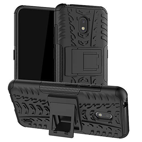 LiuShan Kompatibel mit Nokia 2.2 Hülle, Dual Layer Hybrid Handyhülle Drop Resistance Handys Schutz Hülle mit Ständer für Nokia 2.2 (2019) Smartphone(mit 4in1 Geschenk verpackt),Schwarz