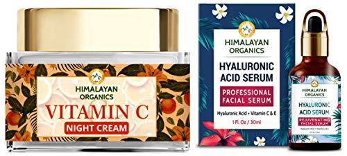Himalayan Organics Vitamin C Night Cream with Hyaluronic Acid | Anti Pigmentation & Skin Brightening & Himalayan Organics Hyaluronic Acid Serum for Face Capture Youth with Retinol Vitamin C & E