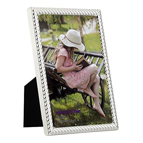 RPJC 10x15 cm 4x6 inch Cornice PortaFoto in Metallo Acciaio Vetro ad Alta Definizione da Tavolo e Parete Colore Argento