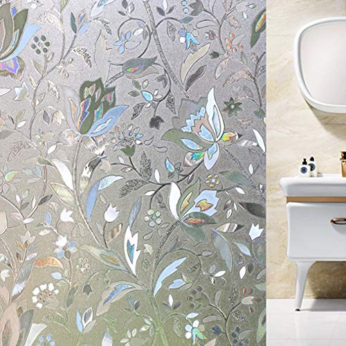 Shackcom 3D Fensterfolie Selbsthaftend Blickdicht Sichtschutz Sichtschutzfolie 60x200CM Statisch Haftend Anti UV Dekorfolie für Bad Küche Büro Zuhause Farbeffekt unter Licht S161