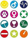 [page_title]-Fackelmann Glasmarker, wiederverwendbare Glasmarkierer, Markierungen für Gläser und Flaschen (Farbe: Bunt), Menge: 12 Stück
