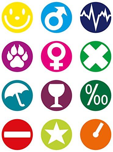Fackelmann Glasmarker, wiederverwendbare Glasmarkierer, Markierungen für Gläser und Flaschen (Farbe: Bunt), Menge: 12 Stück