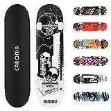 Skateboard Completo 79x20cm para Niñas Niños Adolescentes Adultos Principiantes,9 Capas Monopatín Cruiser de Madera de Arce con Rodamientos ABEC-7 Tabla de Skateboards Longboard (10-Black White)