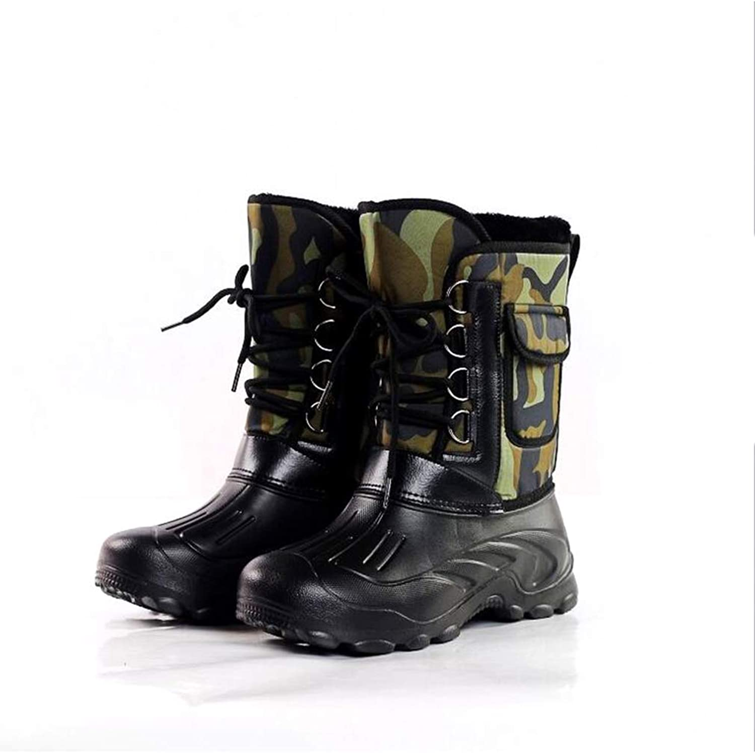 Y-H Men's Boots, Outdoor Winter Waterproof Snow Boots Boots Skiing shoes Fishing shoes Combat Boots (color   D, Size   43)
