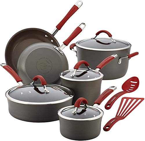 Rachael Ray Cucina Aluminum 12-Piece Nonstick Cookware Set (Hard-Anodized, Gray w/Cranberry Red Handles)