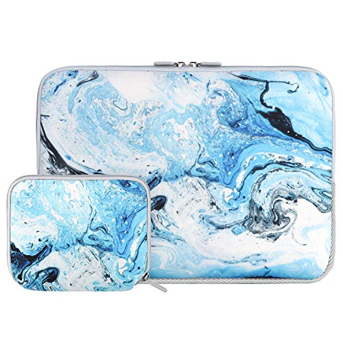 iCasso Laptop Neoprene Sleeve Bag, Protective 13-13.3 inch Laptop Cover Bag Compatible with MacBook Pro, MacBook Air, Notebook Computer, Waterproof Carrying Briefcase with Small Case (Blue Marble)